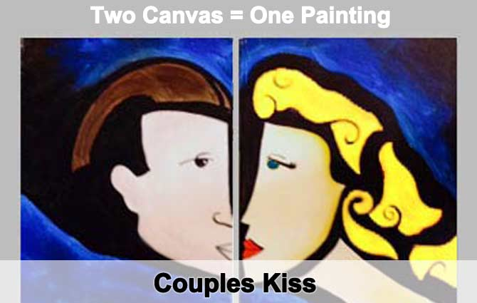 Houston Couples Kiss Painting Class