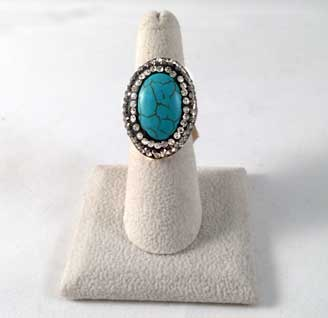 Oval Turquoise Swarovski Sterling Silver Ring